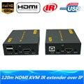 De alta calidad de red ip hdmi usb teclado ratón kvm extender 120 m a través de tcp ip 1080 p hdmi ir extensor kvm a través de cat5e rj45/6 Cable