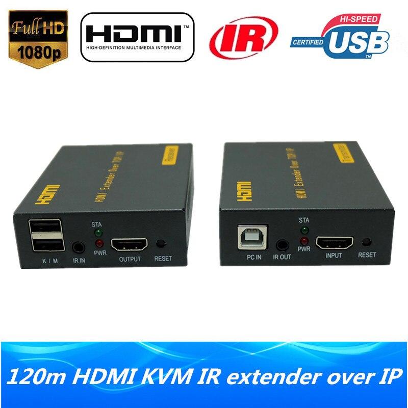 Haute Qualité IP Réseau HDMI USB Clavier Souris KVM Extender 120 m Sur TCP IP 1080 p HDMI KVM IR extender Via RJ45 Cat5e/6 Câble
