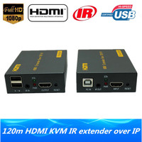 High Quality IP Network HDMI USB Keyboard Mouse KVM Extender 120m Over TCP IP 1080P HDMI KVM IR Extender Via RJ45 Cat5e/6 Cable