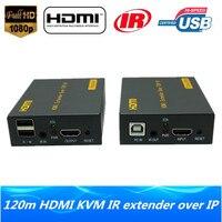 Wysokiej Jakości Klawiatura Mysz USB KVM Extender HDMI Sieci IP 120 m nad TCP IP 1080 P HDMI KVM IR Extender Poprzez RJ45 Cat5e/6 kabel