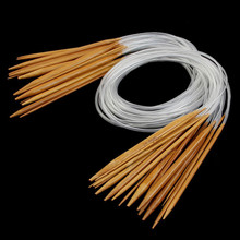 18 Sizes 2.0mm-10.0mm 80cm Sweater Bamboo Smooth Finish Craft Circular Knitting Needles Set