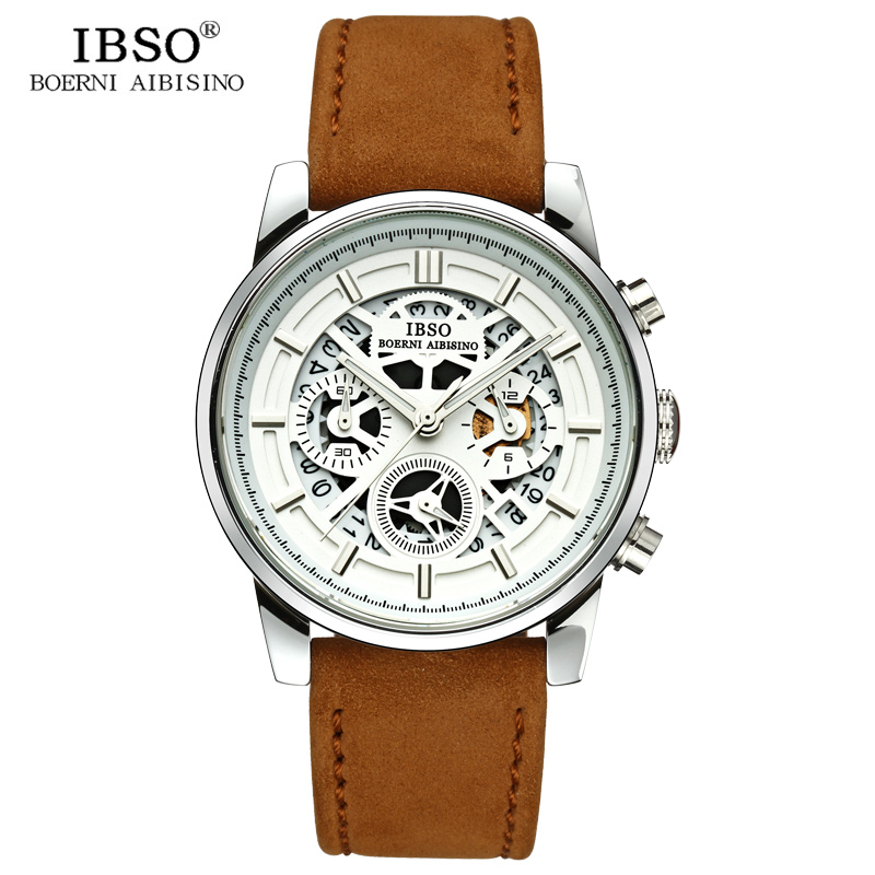 IBSO New Hollow Design Mens Watches 2018 Calendar Stopwatch Sports Quartz Watch Men Genuine Leather Strap Relogio Masculino ibso outdoor leisure sports watches for men genuine leather band quartz mens watches 2018 fashion waterproof relogio masculino
