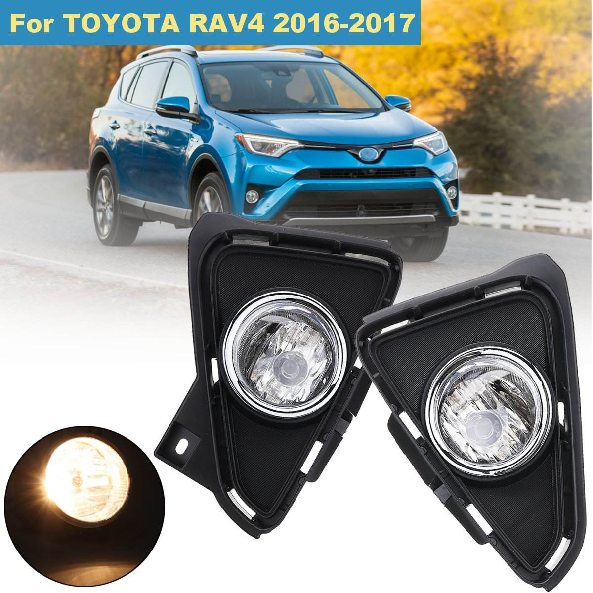 Pair Front Left Right Bumper Fog Lights Driving Lamps H16 w/ Harness Switch For TOYOTA RAV4 2016 2017 19W 12V