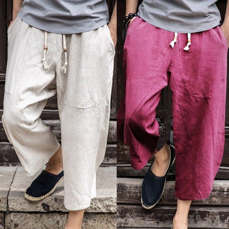 Mens Linen trouser Fashion Mens Elastic Waist Wide Leg Harem Baggy mens Pants Patchwork  ...