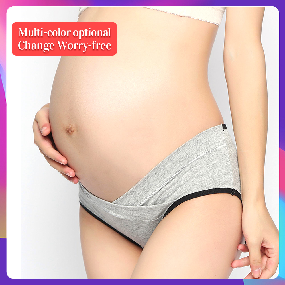 Maternity Underwear Soft Cotton Belly Support Panties for Pregnant Women Breathable V-Shaped Low Waist Panty panties absorbent