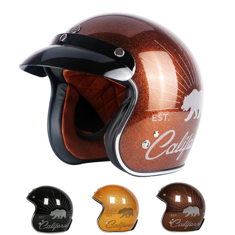 Nouveau TORC moto casque Vintage casque ouvert Sparkle rétro harley casque DOT approuvé moto casco motociclistas capacete