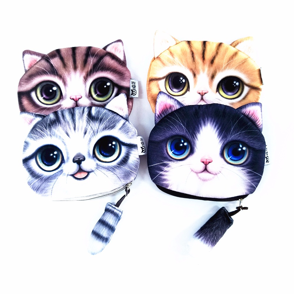 M214 Cute Cartoon Cat Pets Kitty Plush Coin Purse Wallet Girl Women Gift Wholesale