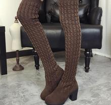 2016 Fashion Knitted Women Knee High Boots Elastic Slim Autumn Winter Warm Long Thigh High Boots Woman Shoes Size 40