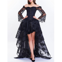 LANGSTAR High Low Two Piece Corset Dress Solid Lace Party Dress Lace Up Prom Formal Gothic Bustiers Robe Vintage Ball Gown Dress