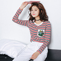 Striped T-shirt 2017 Casual O-neck T Shirt Women Korean Clothes Womens Tops Long Sleeve Tshirt Vetement Femme Poleras De Mujer