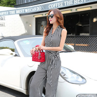 Black And white Stripes Pant Suits 2018 Summer Women Sleeveless One Piece Set Women Sexy V neck Chiffon Casual Pants Suit Sets