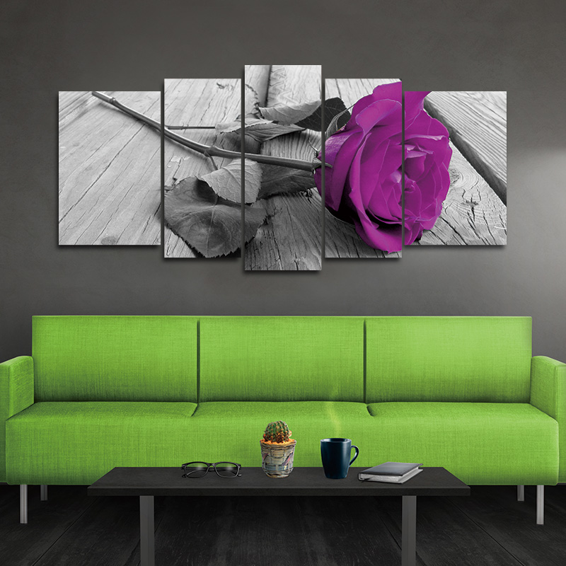 5pcs Print Canvas Wall Art Beautiful Roses Cuadros Decoration Oil Painting Modular Pictures On the Hall Wall No Frame