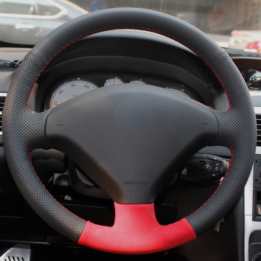 Black Natural Leather Red Suede Car Steering Wheel Cover for Peugeot 307