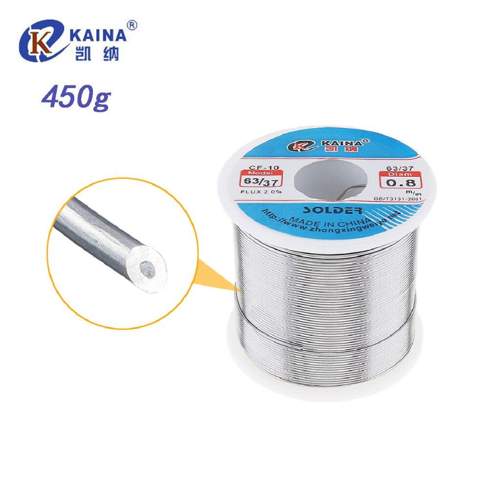 KAINA 0.5 0.6 0.8 1.0 1.2mm 450g Filo di Saldatura con 2% 63/37 Tin Piombo Filo di Stagno Saldare Rosin core Flusso di Saldatura di Saldatura di Saldatura
