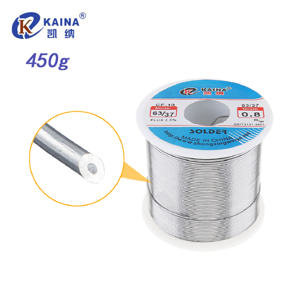 KAINA 0.5 0.6 0.8 1.0 1.2mm 450g Solder Wire with 2% 63/37 Tin Lead Tin Wire Solder Rosin Core Solder Flux Soldering Welding стоимость