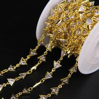 7mm,Triangle White Cubic Zircon Gold Chain Charms,Faceted Clear Zircon Crystal Rosary Chain,CZ Bracelet Earring Necklace Jewelry