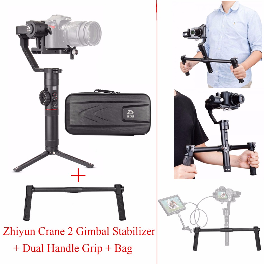 Zhiyun Crane 2 3 Axis Handheld Gimbal Stabilizer for DSLR Cameras,Crane 2 Gimbal + Dual Handle Grip Support,Load up to 3.2KG 2017 hot sale luxury luminous automatic mechanical skeleton dial stainless steel band wrist watch men women best christmas gift