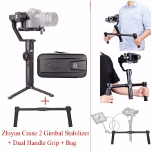 Zhiyun Crane 2 3 Axis Handheld Gimbal Stabilizer for DSLR Cameras,Crane 2 Gimbal + Dual Handle Grip Support,Load up to 3.2KG moza air 3 axis dslr handheld gimbal stabilizer dual handle case for canon nikon sony a7 cameras load 3 2 kg vs zhiyun crane