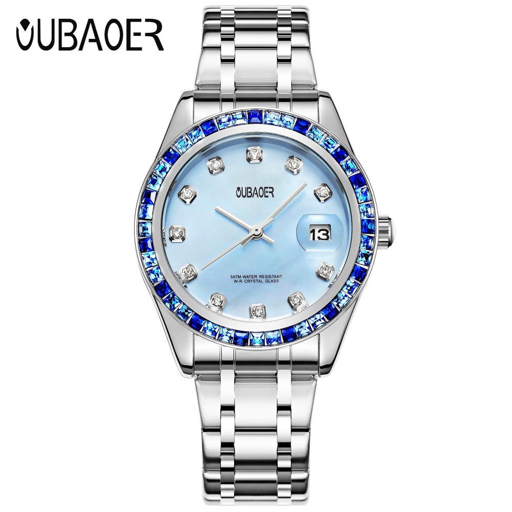 OUBAOER Brand Women Auto Date Crystal Reloj Mujer Luxury Dress Waterproof font b Ladies b font