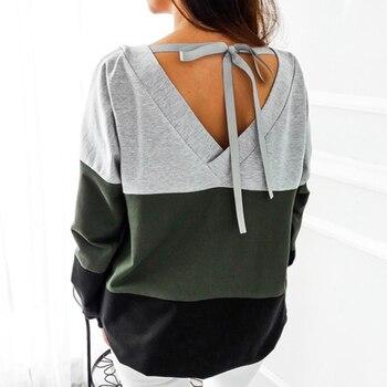 Lace Up Bandage Long Sleeve Sweatshirt Hoodie Loose Casual Tops Tee Shirt Hoodies Pullovers Femme 2018