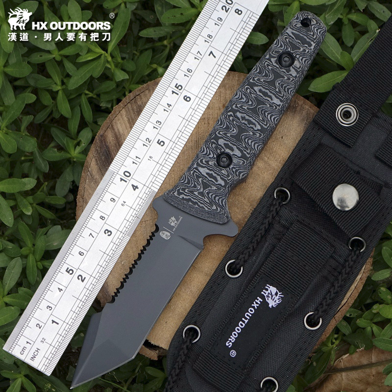 HX OUTDOORS Diving naval tactics high hardness steel straight knife wilderness survival knife self-defense portable cutter knife hx outdoors army survival knife outdoor tools high hardness straight knives essential tool for self defense cold steel knife