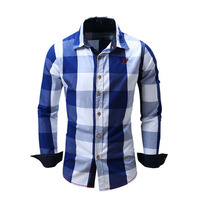 New Spring Casual Brand Slim Fit Men Long Sleeve Shirt Pure Cotton Cowboy Plaid Hit Color
