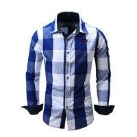 New Spring Casual Brand Slim Fit Men Long Sleeve Shirt Pure Cotton Cowboy Plaid Hit Color