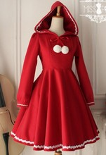 Lovely Red Warm Winter Cute Lolita Coat Winter Long Coats All Size with Hood