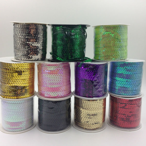 ( 6MM/w 100Yards/pc ) PVC Spangle Sequins Paillette String Jewelry Rope & Cord Findings & Acceossires