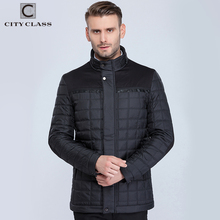 CITY CLASS New mens classic coats jackets casual slim fit sewing cotton-padding quilted stand collar warm winter jacket 15800