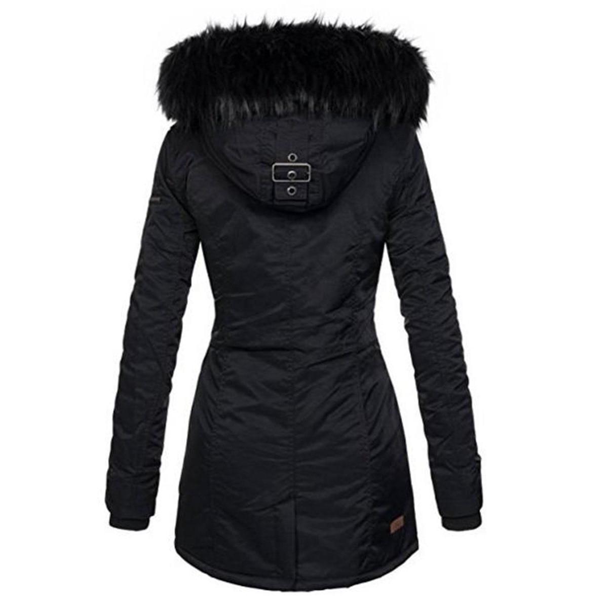 Automne 2018 En Épaissir Long À Femmes De Fourrure Veste Taille Base La Capuchon Chaud Plus Kinikiss Hiver Femelle Mince Noir Dames Coton Manteau Survêtement AvwdAq0