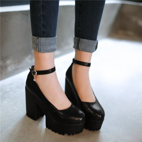 c3907cb8012e PXELENA Hot Mary Janes Punk Womens Round Toe Block Chunky Block High Heel  Platform Pumps Ankle