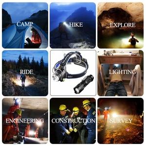 Image 2 - 3800LM Head lamp LED Headlight T6 Head lights headlamps + Q5 Mini flashlight 2000lm Zoomable Zaklamp Taschenlampe