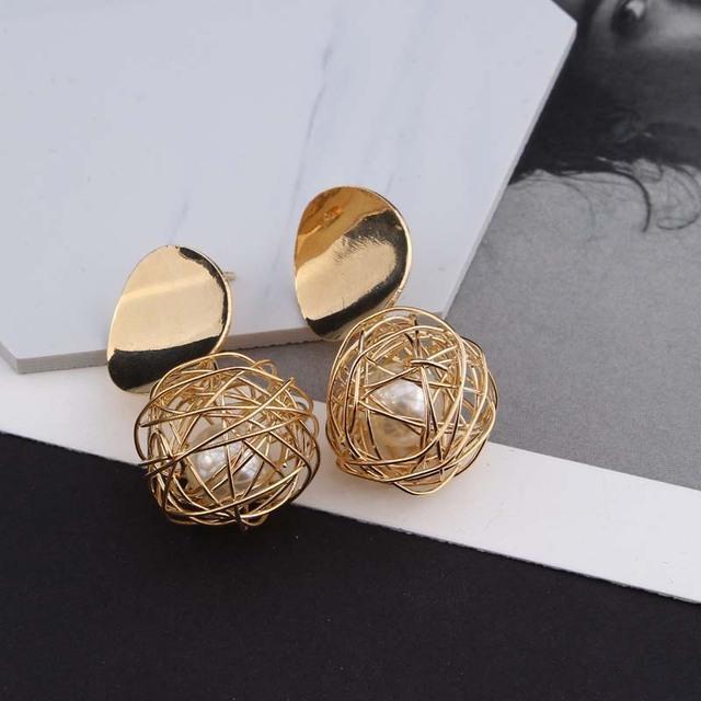 Kolczyki moda instrukcja 2018 piłka geometryczne kolczyki dla kobiet wiszące dangle kolczyki Drop Earing Nowoczesna Biżuteria
