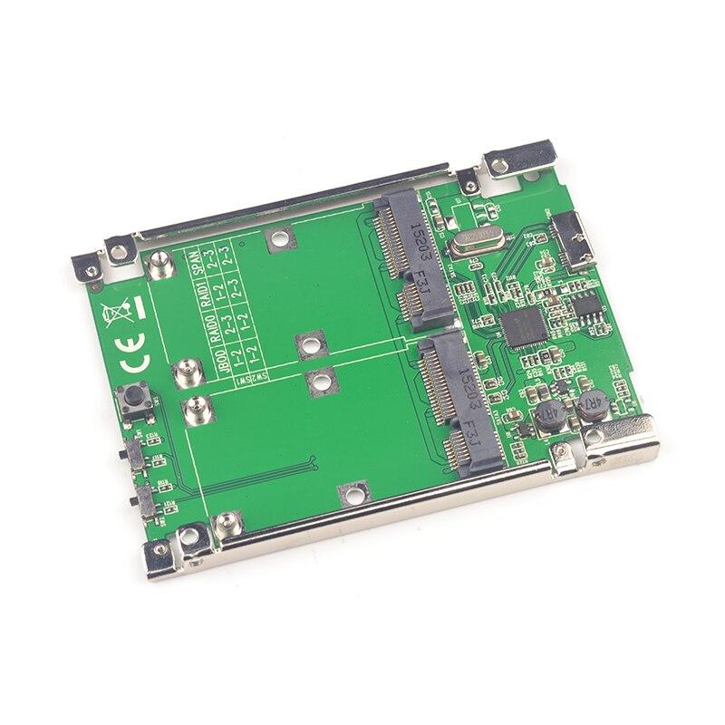 USB3 1 Micro B to SATA 6G 2 ports mSATA RAID 0 1 Adapter Expansion Card