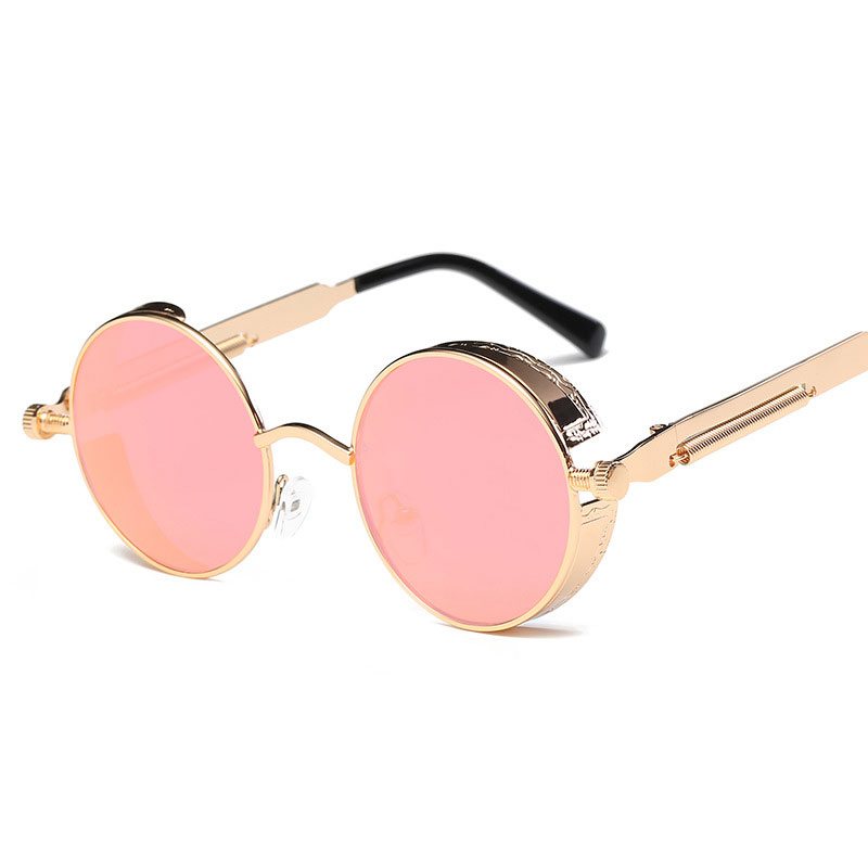 ed179323403a Metal Round Steampunk Sunglasses Men Women Fashion Glasses Brand Designer  Retro Frame Vintage Sunglasses High Quality UV400-in Men's Sunglasses from  Apparel ...