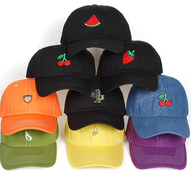 9 styles fruit Embroidery Baseball Cap Women Men 100% Cotton Dad hat Fruit  Snapback hip d51dedc6ea2