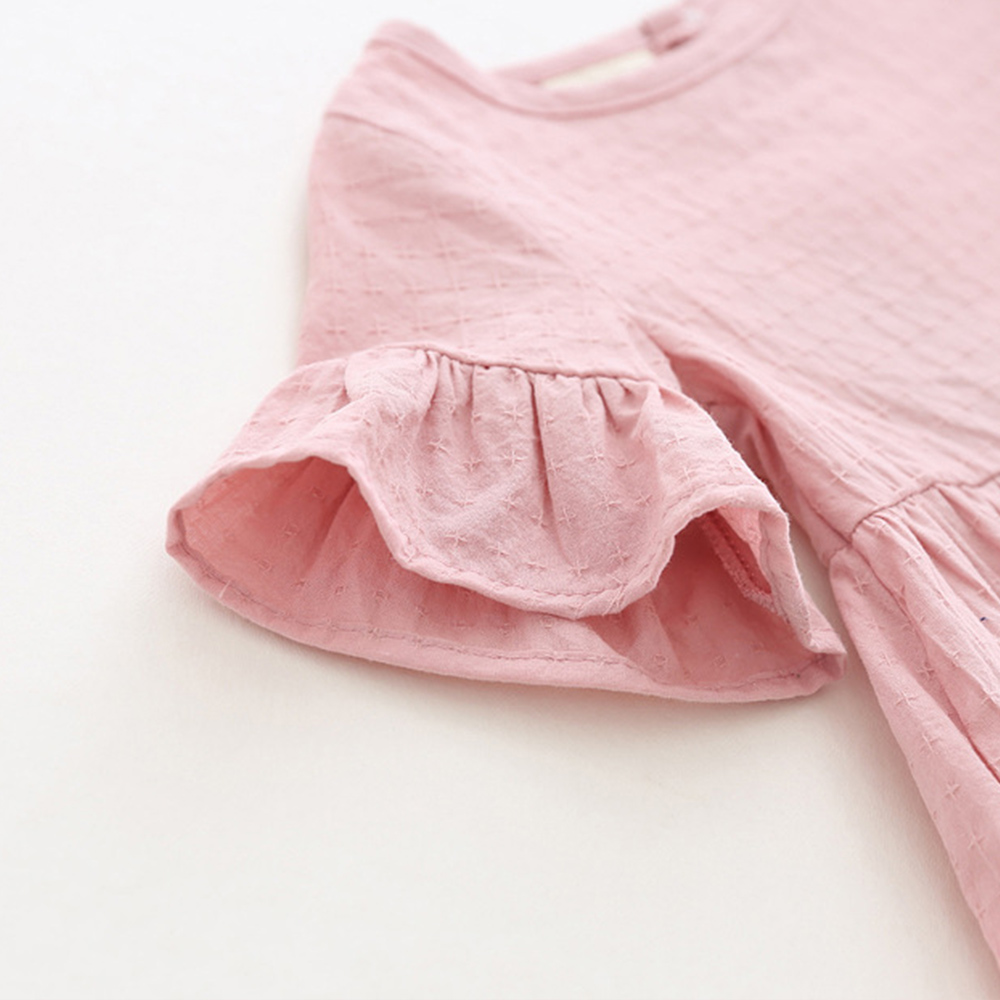 Lotus-Leaf-Short-Sleeves-Baby-Girl-Dress-Pink-White-Color-Toddler-Skirts-Solid-Princess-Blouse-Shirts-Infant-Top-Tees-Shirt-4