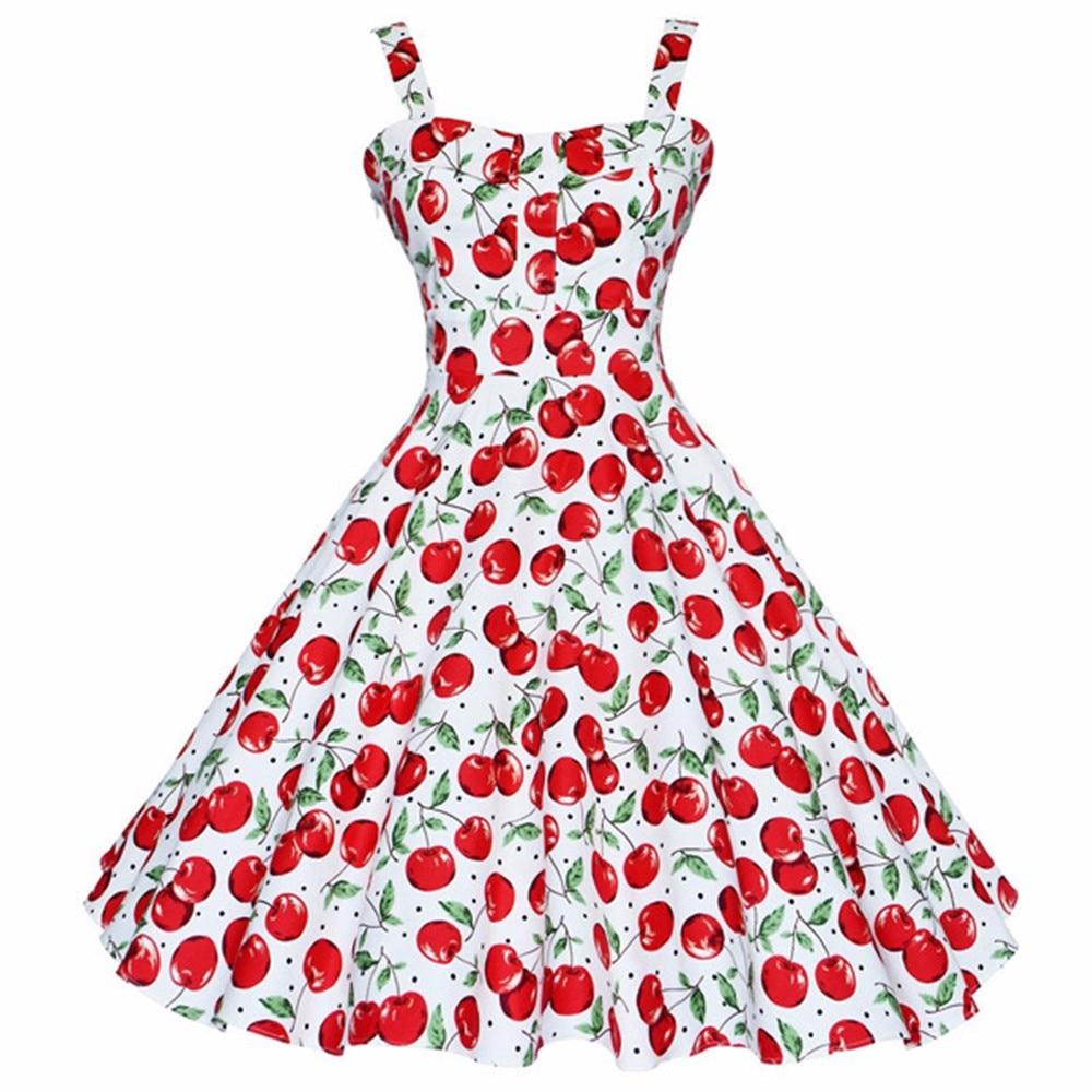 bbd2fb629cf08c Joineles Summer Dress Vintage Rockabilly Dress Jurken 60s 50s Retro Big  Swing Floral Pinup Women Audrey Hepburn Dress Vestidos