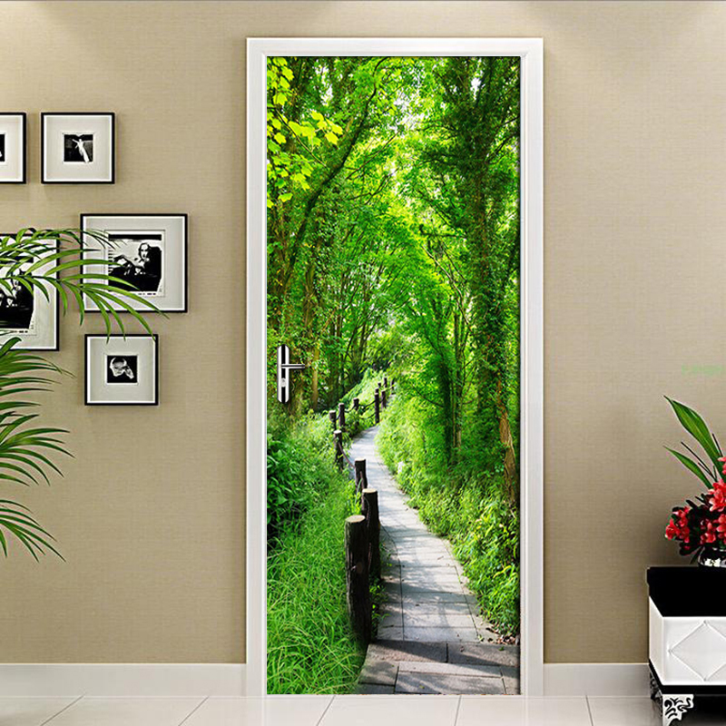Forest Trail Nature Landscape Modern 3D Wall Covering Living Room Bedroom Door Mural Sticker PVC Waterproof 3D Wallpaper Mural