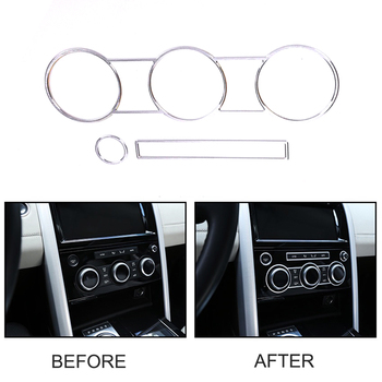 JEAZEA 3 piezas de plata Interior de Control Central de aire acondicionado AC botón cubierta de anillo de ajuste para Land Rover descubrimiento 5 LR5 2017, 2018
