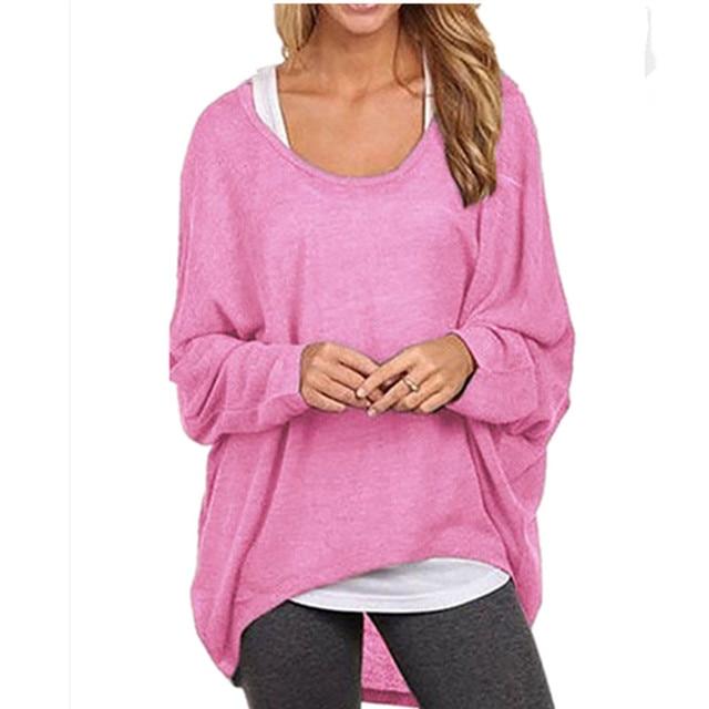 1103aee8b0b8 Korean Plus Size Long Sleeve Batwing Pullover T shirt Women Tops ...