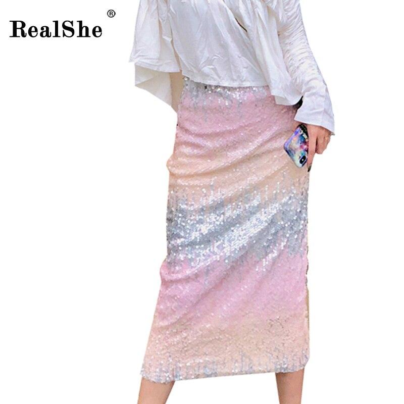 RealShe 2019 Fashion Women Sexy Midi Skirt Ladies Autumn Winter High Waist Slim Patchwork Skirts Womens Femininas Jupe Femme