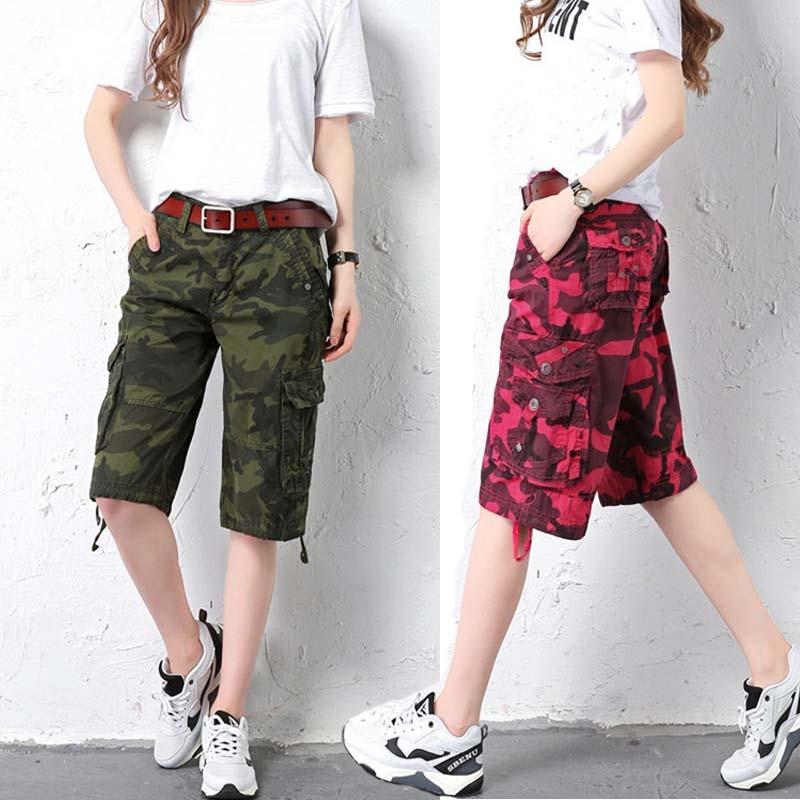 short cargo pants men/women 2018 plus size army camouflage multi-Pocket military jeans denim knee pant trousers pantalon femmes
