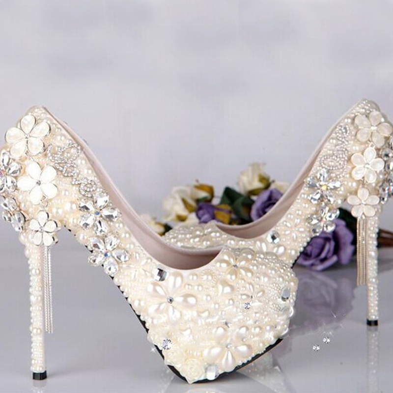 2018 Sparkling Ivory Wedding Dress Shoes Ball Gown Shining Crystal Rhinestone High Heel Bridal In Women S Pumps From On
