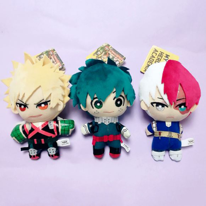 1pc Cute Anime My Hero Academia Izuku Midoriya Katsuki Bakugou Shouto Todoroki Plush Pendant Toy Soft Stuffed Dolls Gift
