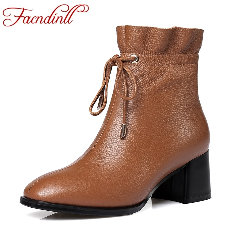 FACNDINLL shoes 2017 new fashion autumn winter women ankle boots shoes square heels genuine leather short boots plus size 34-42