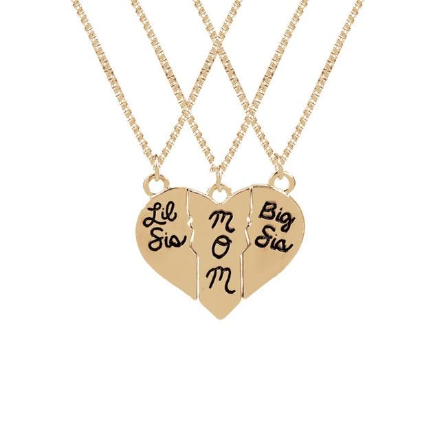 d2c078bbb086ba Groothandel 20 sets/partij Mode-sieraden grote sis mom Liefdevolle Hart  Stiksels Ketting Goud