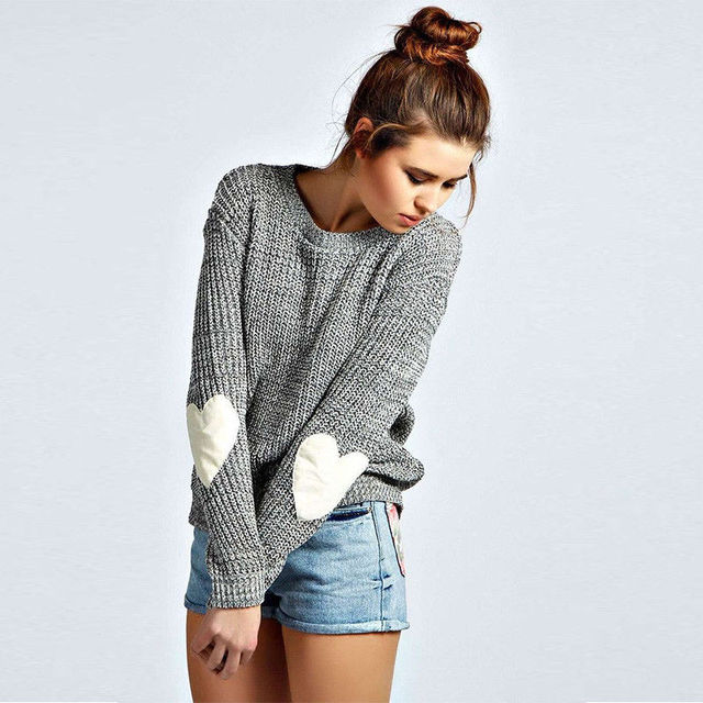 2016 Women Sweater Pullovers Autumn Winter Sweaters Pull Loose Love Heart Elbow Patch Fashion Jumpers Sweter Mujer 22