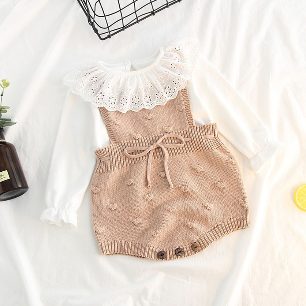 Infant Newborn Baby Boy Girl Print Knit Romper Bodysuit Crochet Clothes Outfits